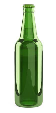 Green glass bottle. Design mockup template. 3d illustration isolated on a white background. 免版税图像 - 141351038