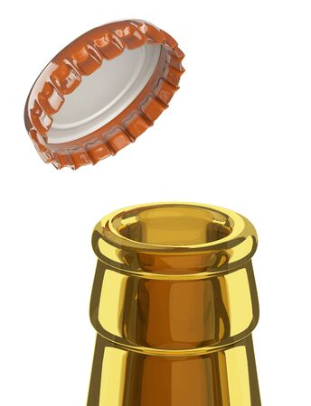 Close-up of a beer bottle neck with an open cap for concept design. 3d illustration isolated on white bacground. 免版税图像