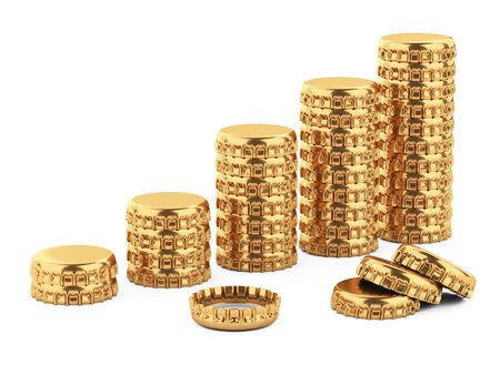 Business graph of golden beer caps. Conceptual 3d illustration isolated on white background. 免版税图像