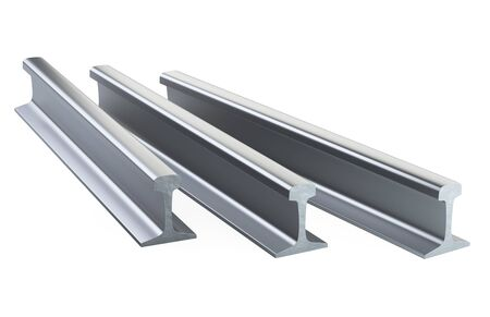 New steel rails for railway track stacking in stock. 3d illustration isolated on a white background. 免版税图像 - 141351042