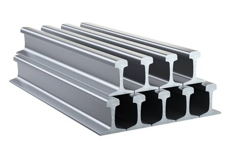 Steel rail for railway track stacking in stock. 3d illustration isolated on a white background. 免版税图像 - 141351043
