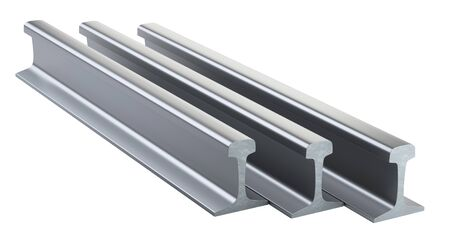 Steel train rails steel pack. 3d illustration isolated on a white background.
