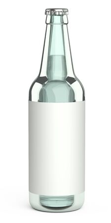 Glass beer bottle with a label. Design mockup template. 3d illustration isolated on a white background. 免版税图像