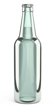 Glass beer bottle. Design mockup template. 3d illustration isolated on a white background.