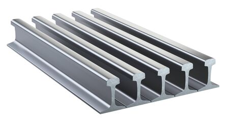 Steel rails for railway track stacking in stock. 3d illustration isolated on a white background. 免版税图像