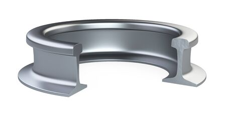 Curved in a ring steel rail. 3d illustration isolated on a white background. 免版税图像 - 142222746