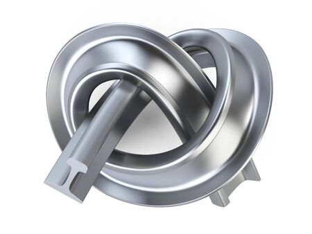 Tied in the knot steel rail hard way concept - top view. 3d illustration isolated on a white background. 免版税图像 - 142514564