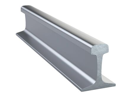 Steel rail for railway track close-up. 3d illustration isolated on a white background.