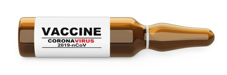 Glass flask with vaccine antiviral against coronavirus COVID-19. Tool against the pandemic. 3d illustration isolated over white background. 免版税图像 - 143561104