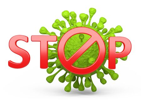 Green coronavirus and red stop sign. The concept of stopping a pandemie around the world. 3d illustration isolated on a white background. 免版税图像 - 146050335