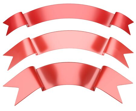 Gift red ribbons set in arc shaped for your design. 3d illustration isolated over white background.