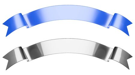 Gift ribbons set in arc shaped for your design. 3d illustration isolated over white background.