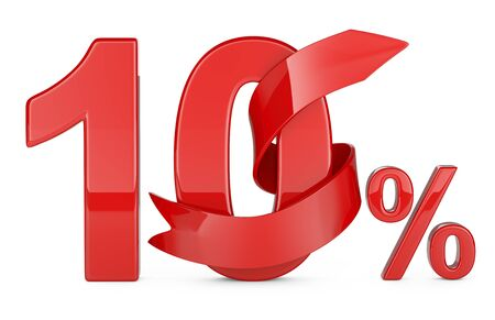 10 percent and a gift ribbon around the numbers. The concept of holiday discounts. 3d illustration isolated on a white background. Archivio Fotografico