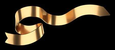 Long golden curly gift ribbon for your design. 3d illustration isolated over black background. 免版税图像