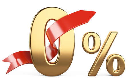 Zero golden percent and a gift ribbon around the numbers. The concept of discounts. 3d illustration isolated on a white background.
