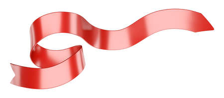 Long curly gift ribbon for your design. 3d illustration isolated over white background.