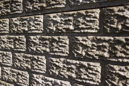 precast: A perspective view of a section of concrete precast fencing in the form of a bricked wall