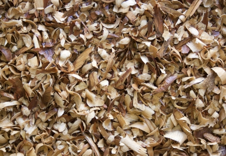 houtkrullen: A flat view of a dense collection of various wood shavings texture