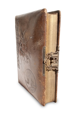 hasp: An closed old leather bound antique book with a brass lock and hasp on an isolated background Stock Photo