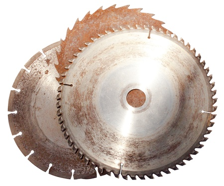 oxidize: A set of three old rusted circular saw blades on an isolated white background