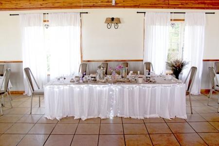 venue: View of the venue of a wedding reception Editorial