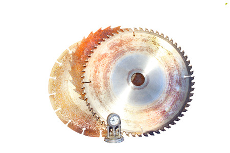 Three isolated saw blades with time clock Stock Photo - 22519400