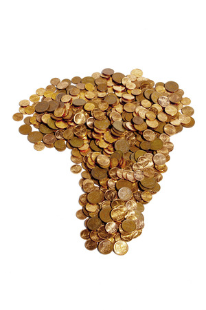 coins shot in golden color: An arrangement of various south african coins in the shape of africa