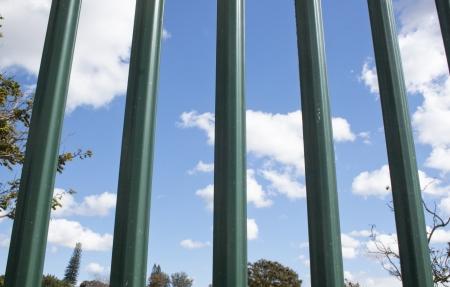 �spiked: Exterme primer plano de color verde empalizada p�as contra el cielo azul nubes y �rboles Foto de archivo