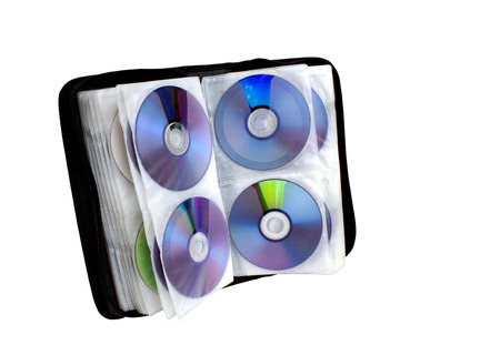 compact disk: Left side view of compact disk holder Stock Photo
