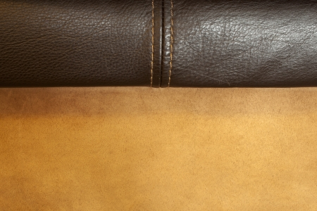 sewn up: close up of sewn leather and suede fabric