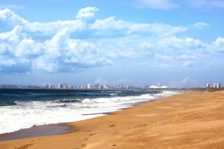 stadium  durban: view of Durban City skyline from La Lucia beach Durban South Africa