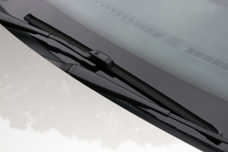 windscreen wiper: close up of windscreen wipers in resting position on windshield