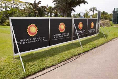 nelson mandela: DURBAN, SOUTH AFRICA - DECEMBER 14, 2013: Signboards along walkway at the Nelson Mandela Championship presented by ISPS Handa at Mount Edgecombe Golf Club  on December 14 in Durban, South Africa.