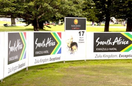 DURBAN, SOUTH AFRICA - DECEMBER 14, 2013: Signage at the seventeenth tee at the Nelson Mandela Championship presented by ISPS Handa at Mount Edgecombe Golf Club  on December 14 in Durban, South Africa.