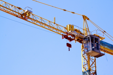 pulleys: control cabin arm and pulleys on high lift crane