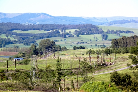 meandering: railway track meandering through rural countryside