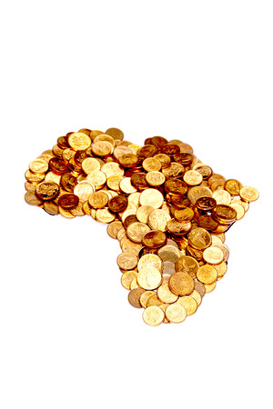 arrangement of South African coins modelled in the shape of Africa photo