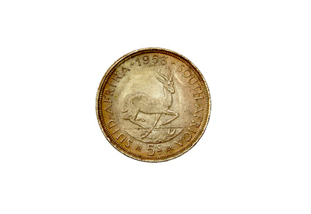 shilling: 1953 Union of South Africa five shilling coin