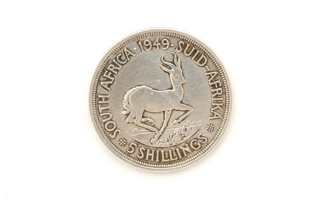 shilling: 1949 union of south africa five shilling coin
