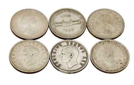 shilling: six vintage union of south africa five shilling coins