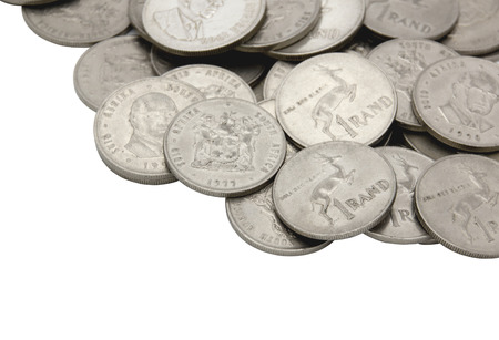 rand: collection of vintage south african one rand coins
