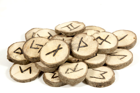 runes: studio shot collection of old wooden runes