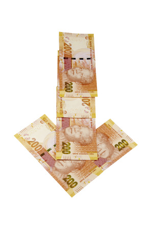 rand: concept arrow of bank notes  showing South African rand monetary value depreciating