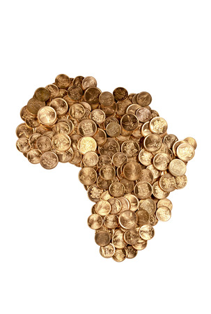 South African coins arranged in the shape of Africa isolated on white