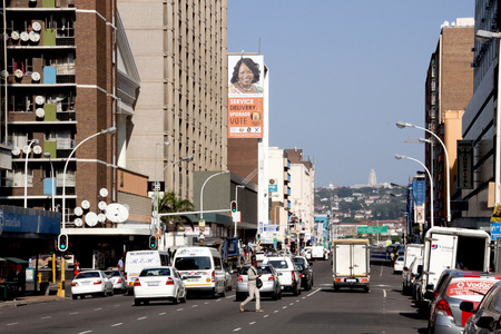 busy street: DURBAN, SOUTH AFRICA - MARCH 22, 2014:  Central Business district in Durban South Africa.