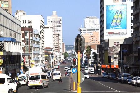 busy street: DURBAN, SOUTH AFRICA - MARCH 22, 2014:  West Street on an early Saturday morning in Durban South Africa. Editorial