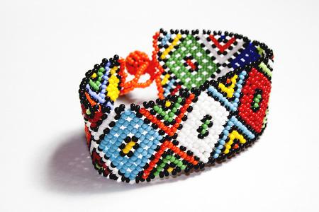 beaded: isolated traditional bright beaded zulu bracelet