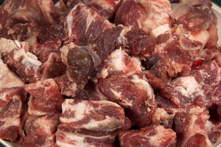 cubed: closeup of cubed lamb prepared for cooking Stock Photo