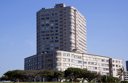 beachfront: DURBAN, SOUTH AFRICA - MAY 24, 2014: Grosvenor Court residential complex on Golden Mile Beachfront in Durban South Africa