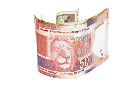 rand: south african fifty rand bank note with lions head
